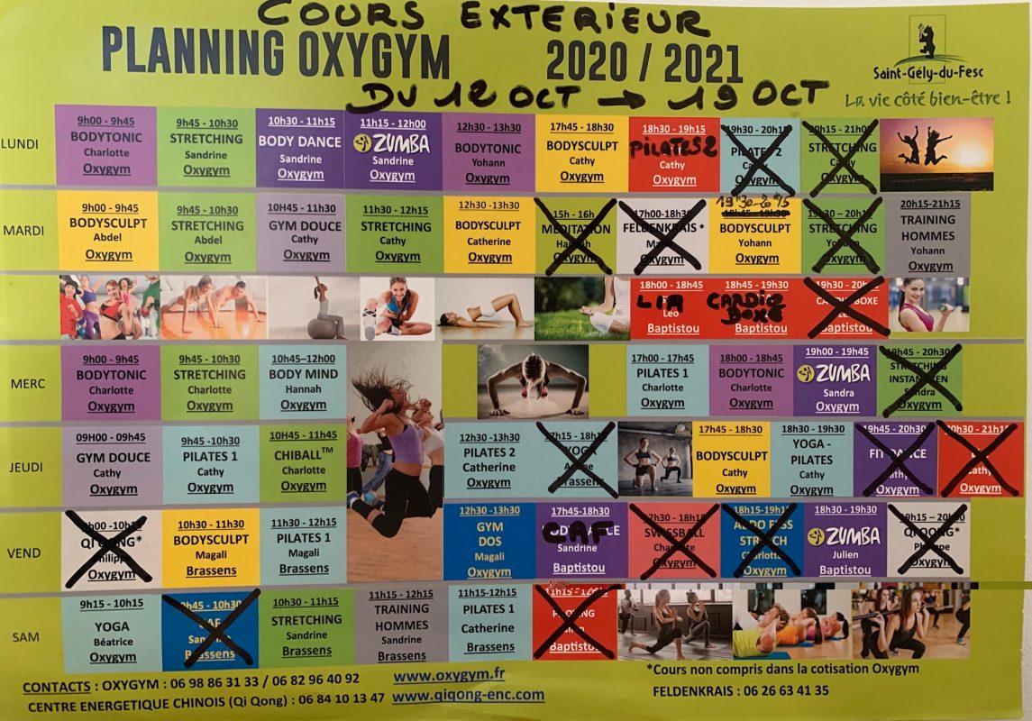Oxygym Planning Modifié
