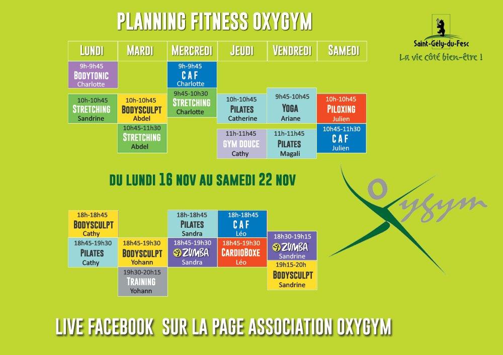 Oxygym Planning 16 Au 22 Nov 2020