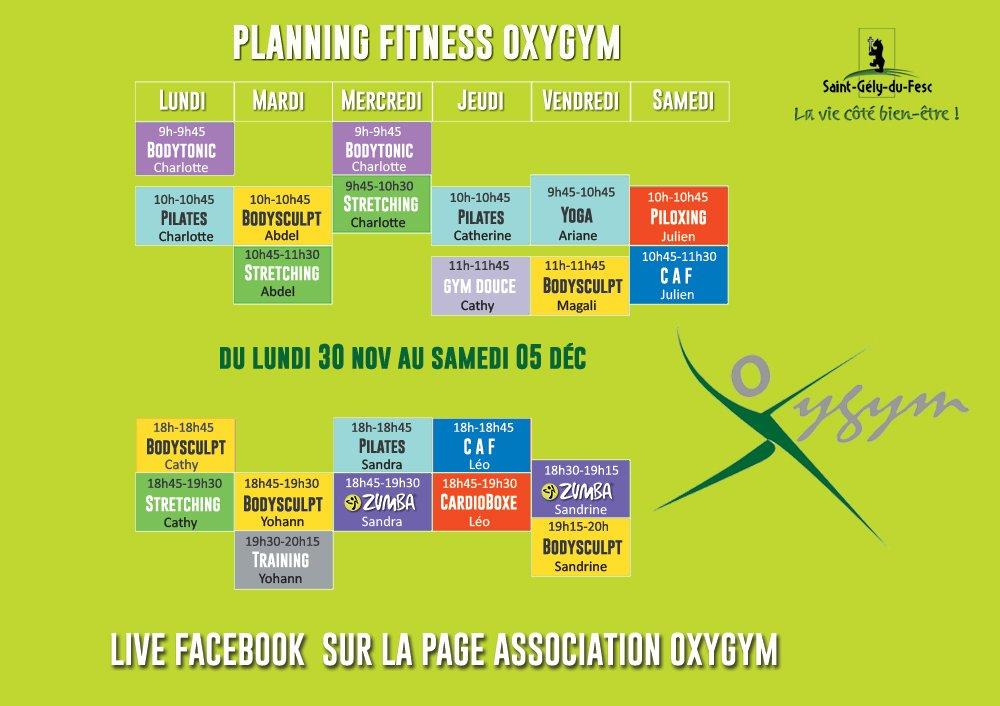 Planning Covid Oxygym 30 Au 5 Décembre