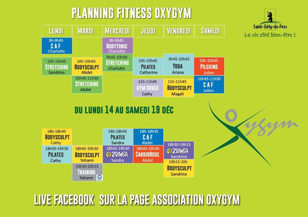Planning Covid Oxygym 14 Au 19 Décembre