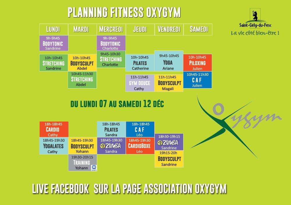 Planning Covid Oxygym 7 Au 12 Décembre