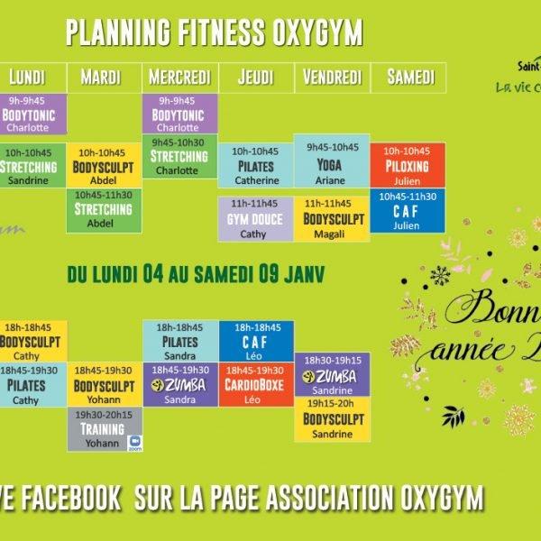 Oxygym Planning 4 Au 9 Janv 2021