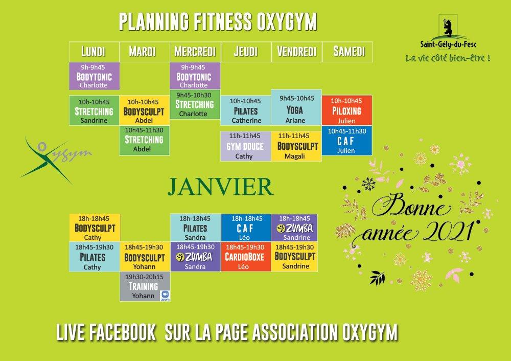 Planning Covid Oxygym Janvier