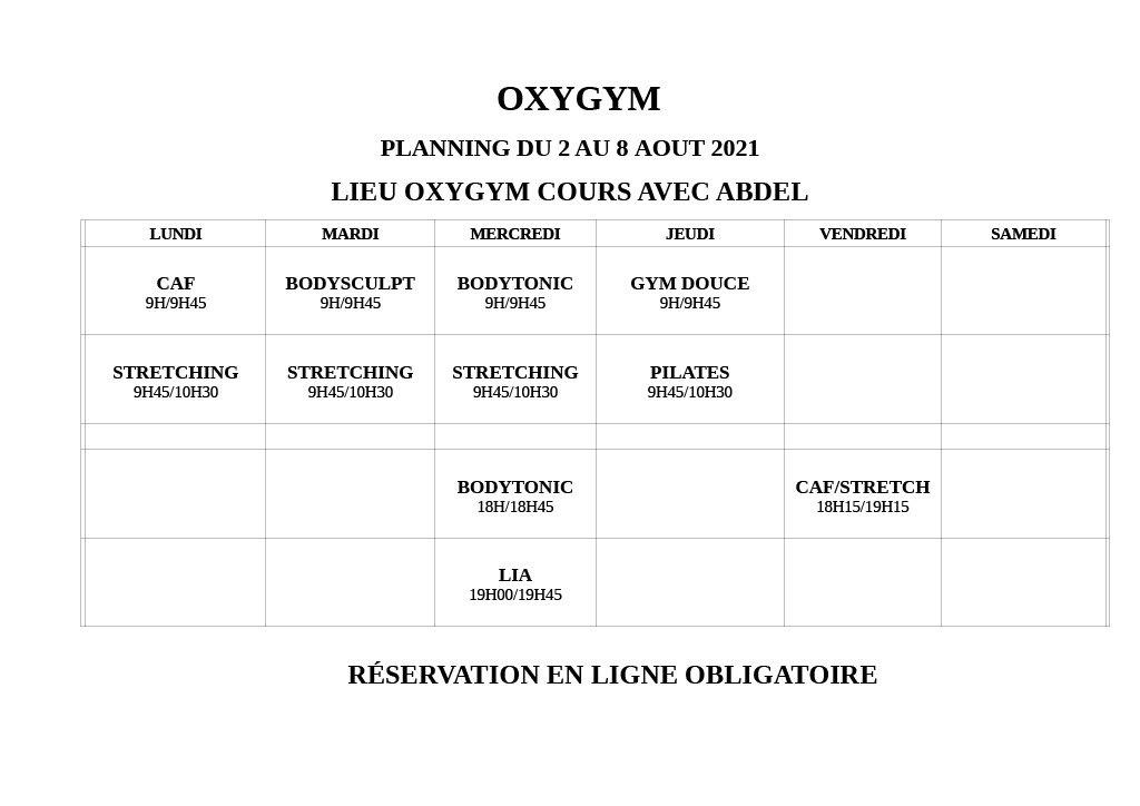 oxygym planning 2au 8 aout 2021