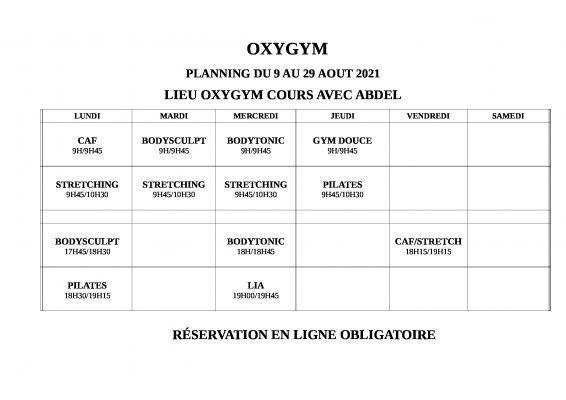 oxygym planning 9au 29 aout 2021